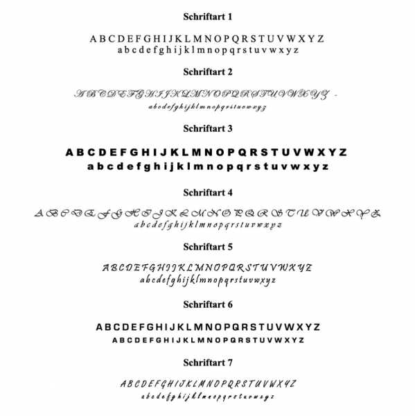 Schriftarten für Gravur